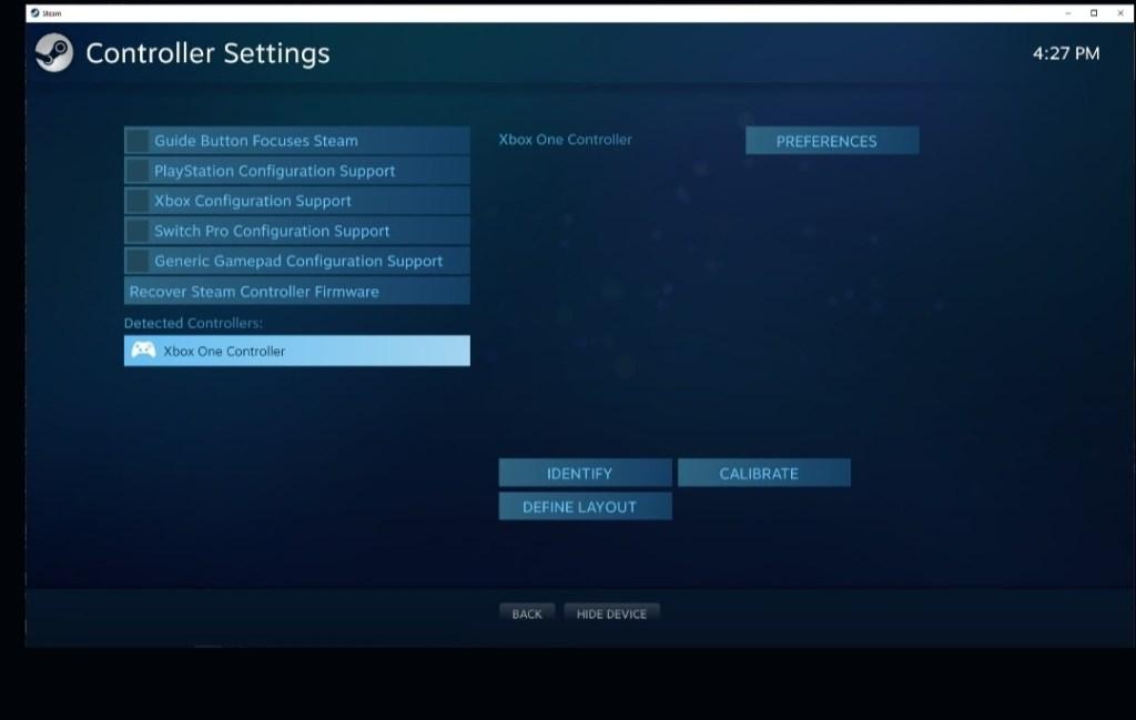 steam controller settings