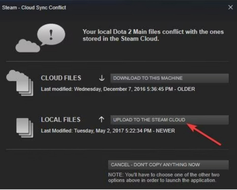 steam cloud sync conflict