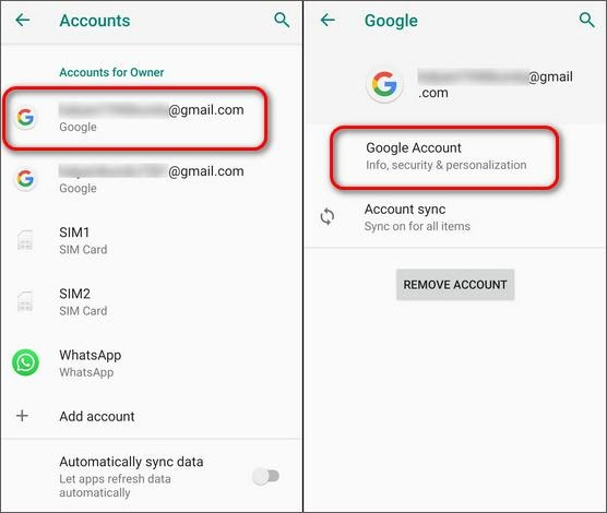 Account connected google account