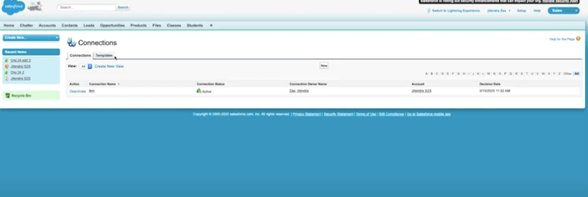salesforce Connection and Templates page