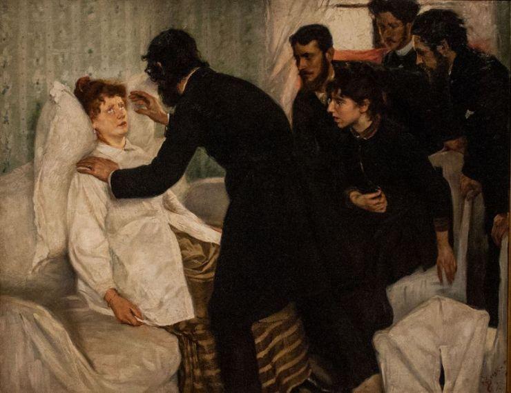 Υπνωτιστική σεάνς. Πίνακας του Σουηδού ζωγράφου Richard Bergh, 1887