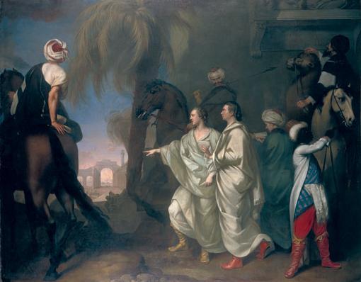 """Πίνακας του Gavin Hamilton (1758), στον οποίο απεικονίζονται οι James Dawkins και Robert Wood, με τίτλο """"Ανακαλύπτοντας τα ερείπια της Παλμύρας"""""""