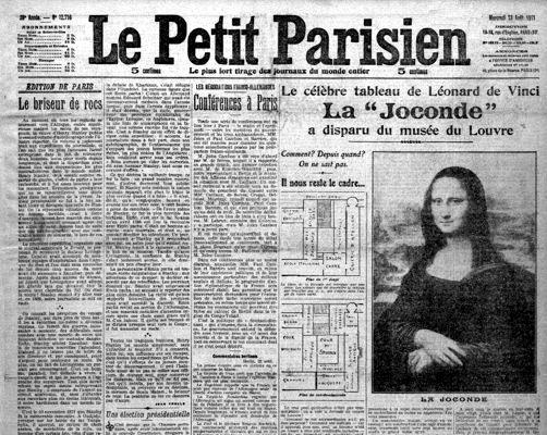 """Πρωτοσέλιδο της """"Le Petit Parisien"""", στις 21/08/1911"""