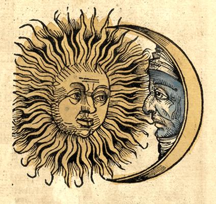 Ο Ήλιος και το Φεγγάρι, ξυλογραφία του 1493