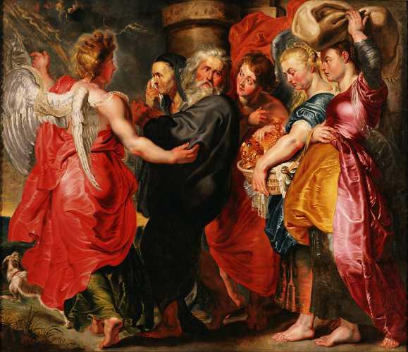 """""""Η φυγή του Λωτ και της οικογένειάς του από τα Σόδομα"""", πίνακας του Φλαμανδού ζωγράφου Jacob Jordaens (1593 - 1678)"""