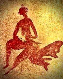 Βραχογραφία, που απεικονίζει μια καθιστή γυναίκα