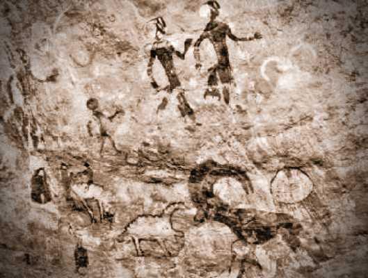 Βραχογραφία, που απεικονίζει ανθρώπους και ζώα