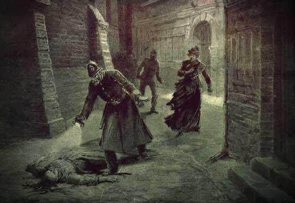 Γκραβούρα εποχής, στην οποία απεικονίζεται φόνος γυναίκας από τον διαβόητο Τζακ τον Αντεροβγάλτη