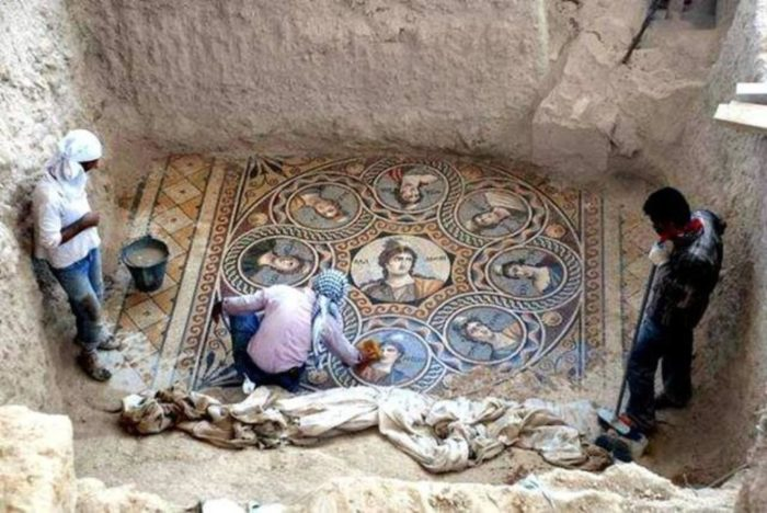 An Ancient Greek mosaic depicting the nine Muses was unearthed in Turkey in 2014.