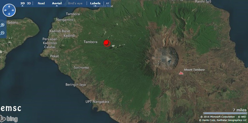 M5.8 earthquake mount tambora volcano, strong earthquake tambora volcano, tambora volcano strong earthquake july 31 2016, M5.8 earthquake hits mount tambora
