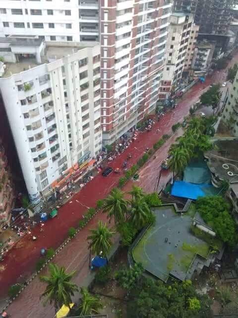 blood red streets dhaka, Blood red water in the streets of Dhaka after Eid al-Adha 2016, dhaka streets blood red, flooded streets dhaka blood red, blood dhaka street, Eid al-Adha 2016, Eid al-Adha 2016 dhaka, dhaka slaughter