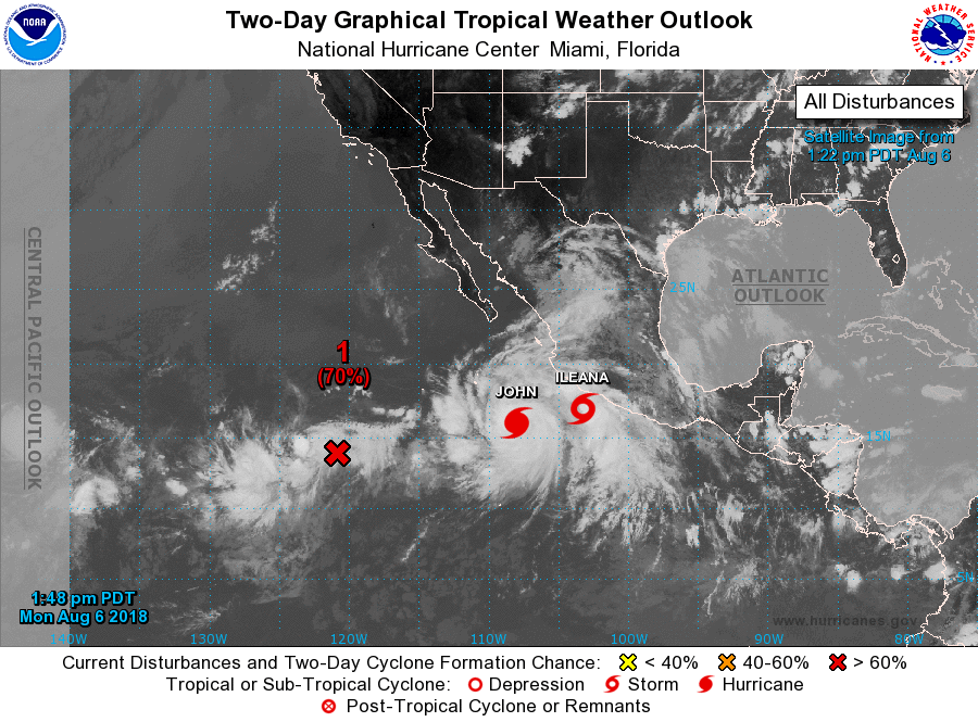 Tropical Storms Ileana and John, and Invest 94E