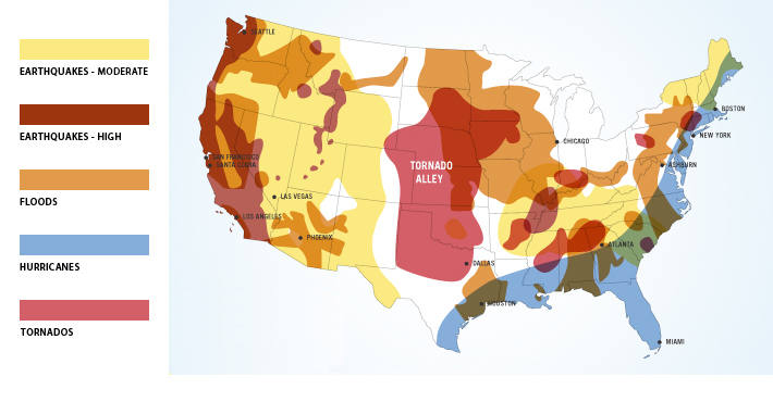US natural disaster risk zones map