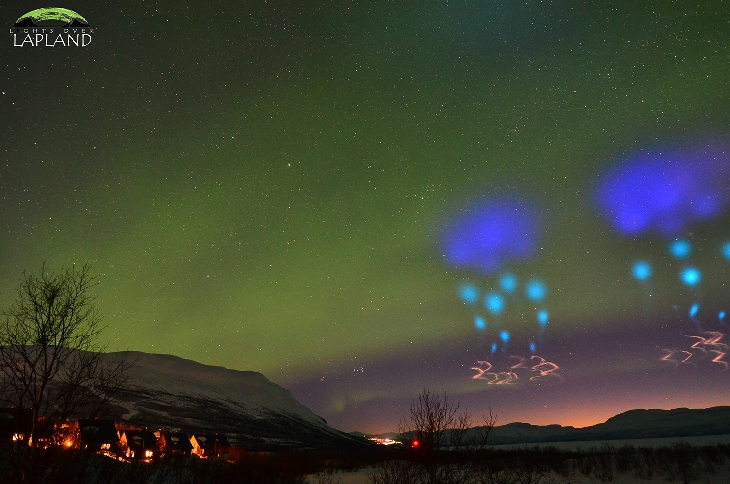 aurora azure rocket sky ufo, strange sky phenomenon, mysterious light in the sky, sky experiement sweden