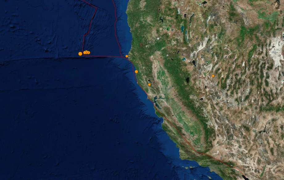 A swarm of small earthquakes strikes Pacific Ocean off Northern California coast