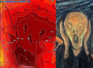 The heat wave in Europe is so intense that a weather map of France looks like a screaming heat skull of death