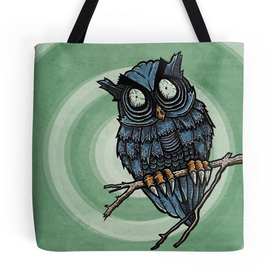 evil owl tote bag