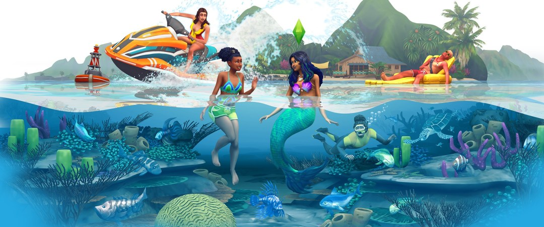 An EA render of a sim waving to a mermaid speaking to each other, with a scuba diver beneath them and on either side of them is a woman on a jet ski and a lifeguard falling asleep on an inflatable raft.