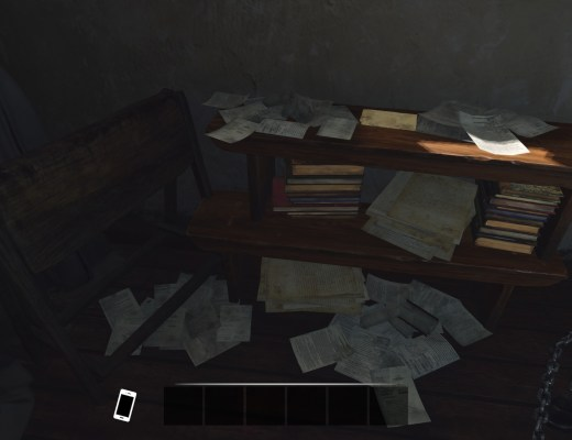 A game screenshot of papers scattered around a dark room.
