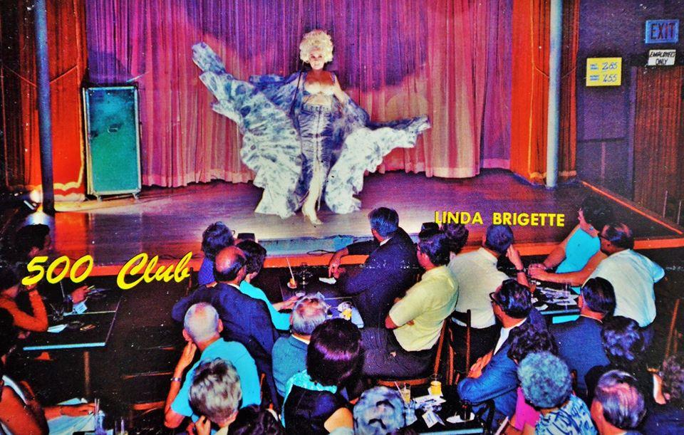 Linda Brigette famous New Orleans burlesque dancer on Bourbon Street