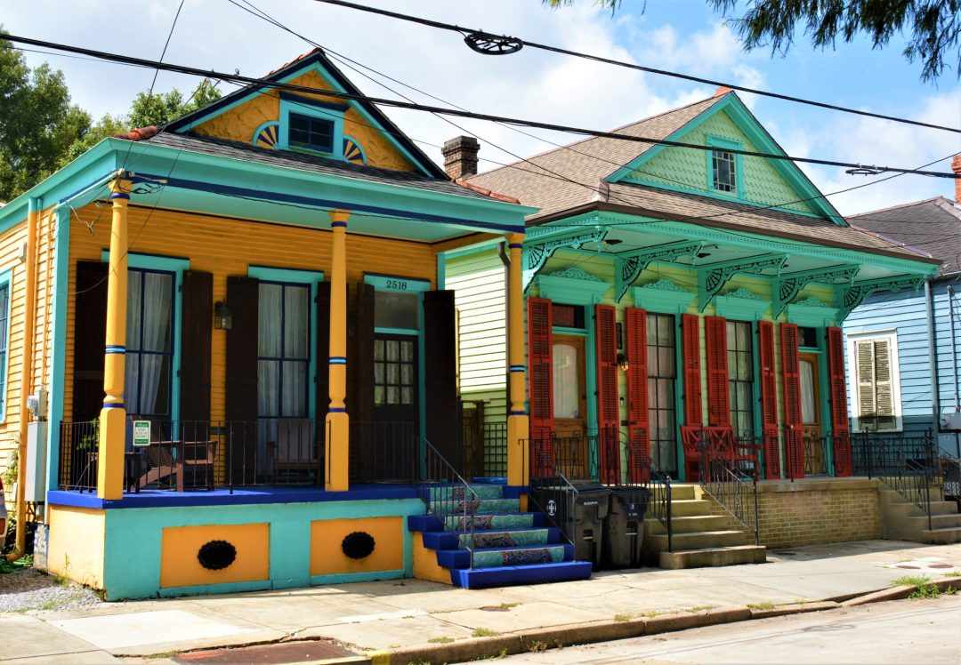 Colorful shotgun houses in the Marigny