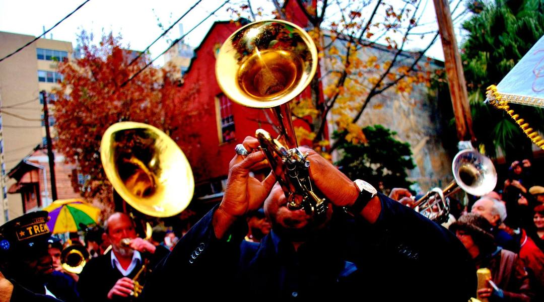 Brass Band playing in a parade in New Orleans