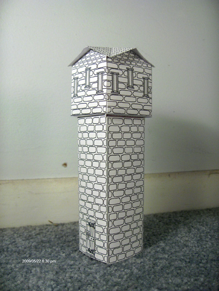A cardstock tower