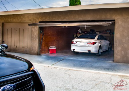 The suspects' garage where the stolen car was parked.