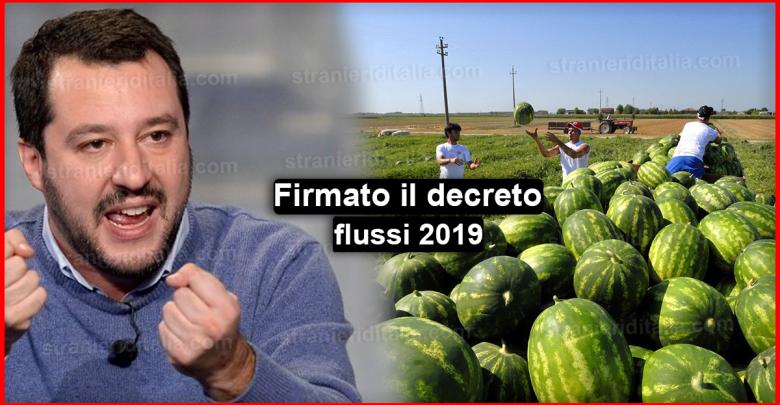 Firmato il decreto flussi 2019 - Ultime notizie !