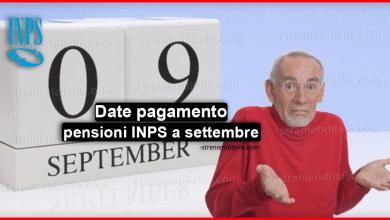 Date pagamento pensioni INPS a settembre e tipologie di pensione