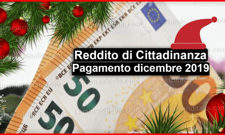 Reddito di Cittadinanza a Natale: Pagamento dicembre 2019