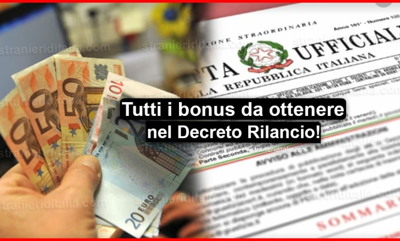 Bonus Decreto Rilancio: Ecco tutti i bonus da ottenere!
