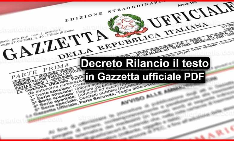 Gazzetta Ufficiale Decreto Rilancio >> Modello PDF