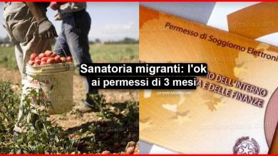 Photo of Sanatoria migranti: l'ok ai permessi di 3 mesi   Stranieri d'Italia
