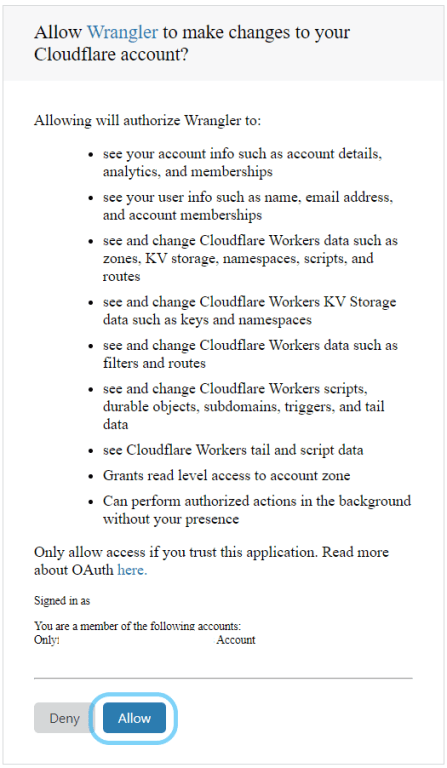 Authenticate wrangler to access Cloudflare worker