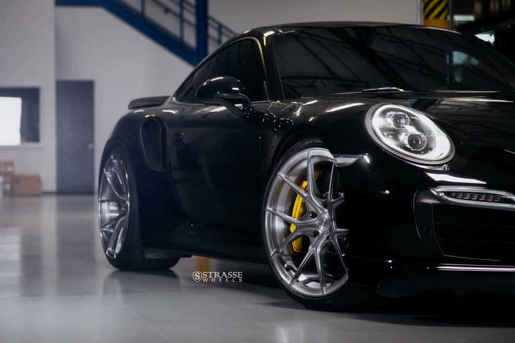 "Strasse Wheels - Porsche 991 Turbo S - 21"" SM5R Deep Concave Monoblocks - Gloss Brushed Titanium 3"