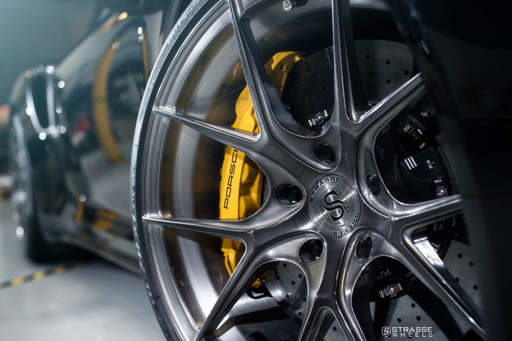"Strasse Wheels - Porsche 991 Turbo S - 21"" SM5R Deep Concave Monoblocks - Gloss Brushed Titanium 4"