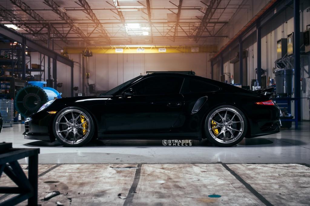 "Strasse Wheels - Porsche 991 Turbo S - 21"" SM5R Deep Concave Monoblocks - Gloss Brushed Titanium 8"