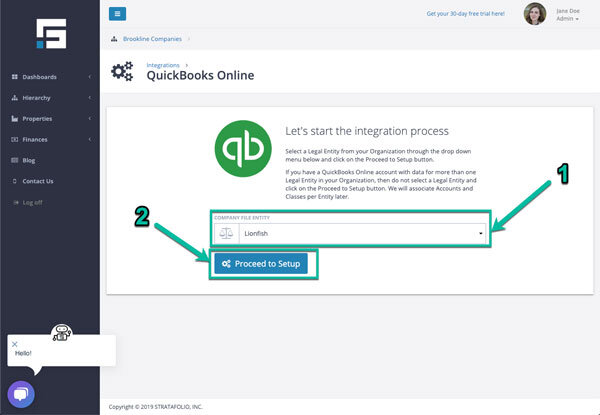 Step-03 Connect STRATAFOLIO to QuickBooks Online