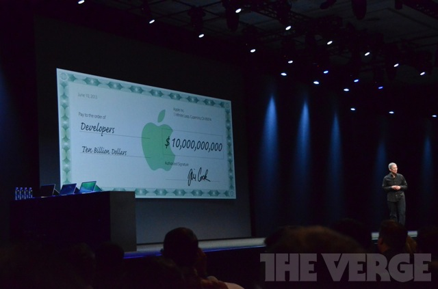 Tim Cook announcing that Apple has paid $10 billion to app developers (credit The Verge)