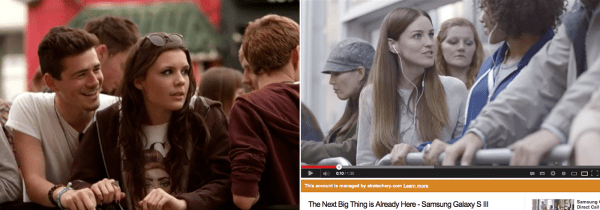 Apple's iTunes Festival video on the left, Samsung's Galaxy SIII commercial mocking those standing in line on the right