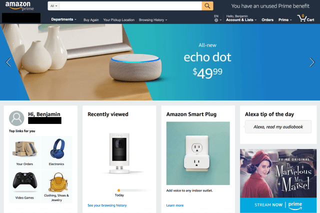 Amazon's front page featuring an Echo Dot