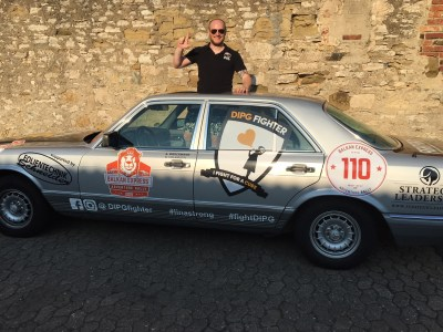 On the rally with his Mercedes classic to raise awareness for DIPG, a fatal childhood brain cancer