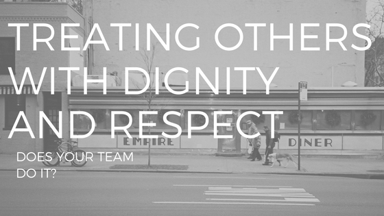 "A PICTURE OF A DINER WITH TEXT THAT SAYS ""TREATING OTHERS WITH DIGNITY AND RESPECT"""
