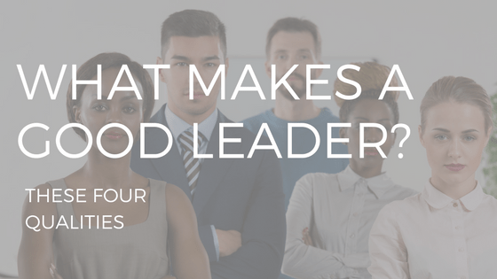 "Text reading ""what makes a good leader"" over a photo of five young professionals of different races, all very attractive. two women and three men."