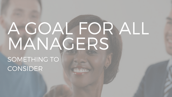 "Text ""a goal for all managers"" with a photo of a young female manager"