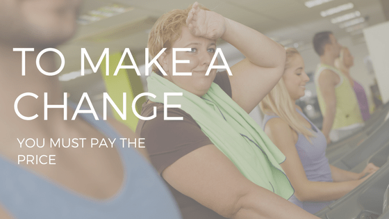 "THE TExt ""make a change"" over a woman exerciising on a treadmill"
