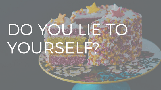 "TEXT ""DO YOU LIE TO YOURSELF"" OVER A PHOTO OF A DELICIOUS LOOKING BIRTHDAY CAKE"