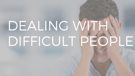 "text reading ""dealing with difficult people"" over photo of a man with his head in his hands looking frustrated."
