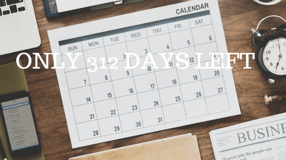 """flatlay photo of a blank calendar with white text over reading """"only 312 days left"""""""